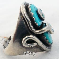EFFIE C ZUNI stamped Turquoise & Silver Mans Ring Circa 1960 Vintage