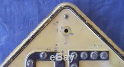 Embossed road, highway speed sign. Glass marble reflectors. Pre-war date stamp