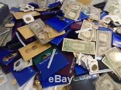 Estate Lot Coins Rare 60 Pcs, Gold(2x) & Silver, Stamps, Gems, Coins, Bills