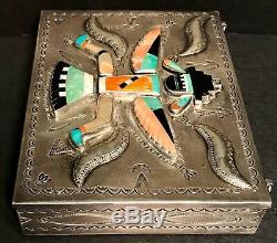 Extraordinary ZUNI NAVAJO KNIFE WING GOD SILVER, STONE & SHELL RAISED-STAMPED BOX