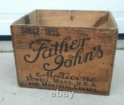 FATHER JOHN'S MEDICINE ANTIQUE WOOD BOX CRATE WithINK STAMPED SIDEWALLS LOWELL, MA