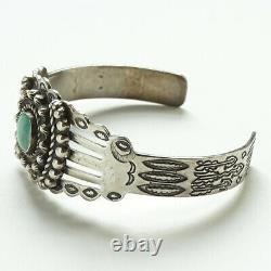 Fred Harvey Era Navajo Turquoise Cuff Bracelet Stamp Decorated Fluted Raindrops