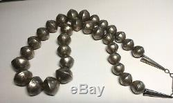 GORGEOUS Old Pawn Sterling Silver (Navajo Pearl) Necklace Stamped Graduated