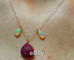 Genuine Ruby and Opal 6ctw solid stamped 14k gold pendant necklace