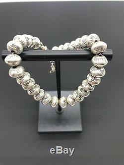 Gorgeous Hand Stamped Navajo Sterling Silver Pearl Bead Bracelet Signed Vintage