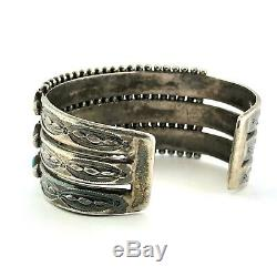 Gorgeous Old Zuni Stamped Sterling Silver & Turquoise Needlepoint Bracelet Cuff