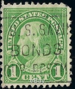 Green Benjamin Franklin 1 Cent US STAMP canceled with slogan U. S. SAVINGS BONDS