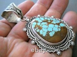 HAROLD JOE Native American Number 8 Turquoise Sterling Silver Stamped Pendant