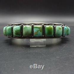 HEAVY Vintage NAVAJO Hand-Stamped Sterling Silver TURQUOISE Cuff BRACELET 129.6g