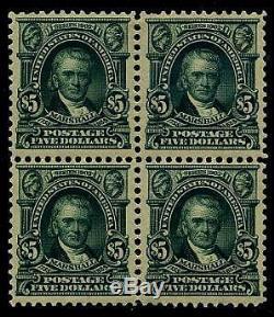 HERRICKSTAMP UNITED STATES Sc. # 313 $5.00 Marshall Block of 4, OG, Hinged