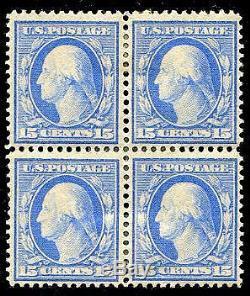 HERRICKSTAMP UNITED STATES Sc. # 366 15¢ Bluish Paper Block of 4, Triple Hinged