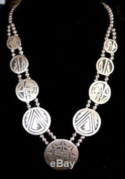 HOPI Sterling Squash Stamped Overlay Bench Bead Disc Necklace Kokopelli Sun 90g