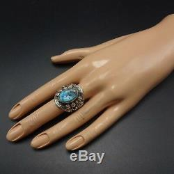 HUGE Vintage NAVAJO Hand-Stamped Sterling Silver and TURQUOISE RING size 8
