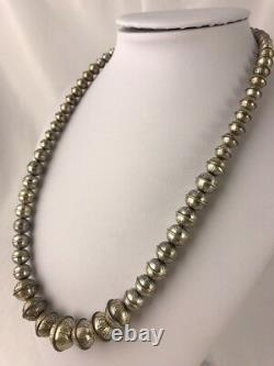 Hand Stamped Bench Navajo Pearls Graduated Sterling Silver Bead Necklace 21