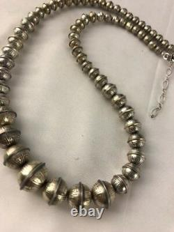 Hand Stamped Bench Navajo Pearls Graduated Sterling Silver Bead Necklace 24