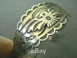 Harvey Era Native American Navajo Sterling Silver Stamped Thunderbird Bracelet