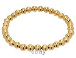 Heavy 5mm Bead Round Stamped 14k Yellow Solid Gold Ball Stretchy Bracelet 7 inch