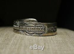 Heavy Native American Navajo Stamped Sterling Silver Cuff Bracelet by Ray Tafoya