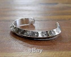 Heavy Triangle Sterling Silver Wire Stamped Men's Cuff Bracelet Signed G Nelson
