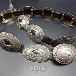 Heavy Vintage NAVAJO Hand Stamped Sterling Silver CONCHO BELT 1st Phase Revival