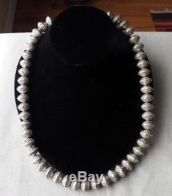 Heavy Vintage Silver Stamped Bead Navajo Pearls Necklace 221.2 Grams