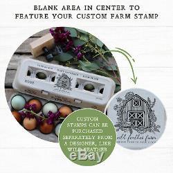 Henlay Bulk Egg Cartons 250/Bundle Center is Blank for Your Farm Stamp