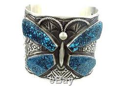 Herman Smith, Gold Canyon Turquoise Butterfly, Stamped Sterling Cuff, Navajo