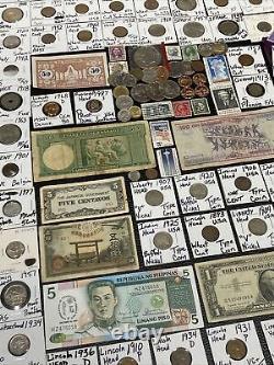 Huge Lot 300+ Coins/Stamps-Silver Note/IKE/Indian/Buffalo/Proof/JFK/Error/Token+
