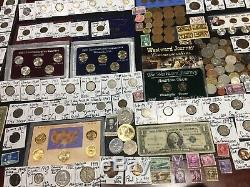 Huge Lot 300+Coins/StampsSilver Note Mercury/Buffalo/Indian/1892/Proof/World/V