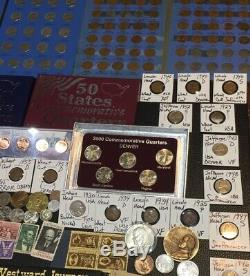 Huge Lot 300+Coins/StampsSilver Note Mercury/Buffalo/Indian/Proof/V/IKE/World+