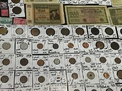 Huge Lot 350 Coin/Stamp/NoteSilver Mercury/Buffalo/Indian/Shield/Two Cent Piece