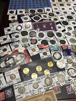 Huge Lot 425+Coin/Stamp-Silver1893/JFK/Mercury/BarberBuffalo/Proof/IKE/V/+more