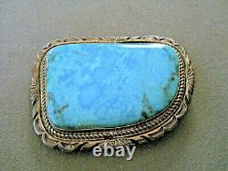 JON MCCRAY Native American Sonoran Turquoise Sterling Silver Stamped Belt Buckle
