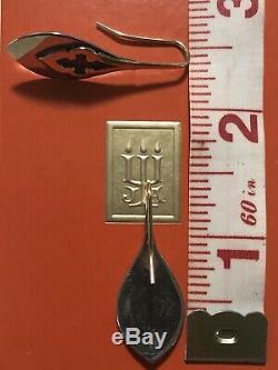 James Avery 14k Gold Paisley Fleur De Lis Teardrop Overlay Earrings Retired Rare