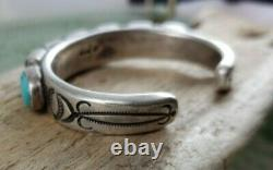 Jock Favour Sundance Catalog Turquoise Coin Silver Hand Stamped Cuff Bracelet