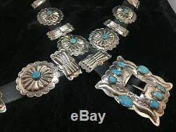 John Hoskie Navajo Silver & Turquoise Stamped Concho Belt #2
