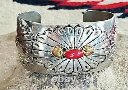 Johnny Johnson Navajo Sterling Brass Coral Southwest Stamped Cuff Bracelet
