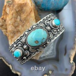 June Defauito Navajo Sterling Silver Oval Turquoise Stamped Heavy Cuff Bracelet