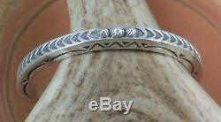 Karl Kee Nataani Navajo Sterling Stamped Cuff Stars terminals Bracelet signed