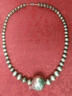 LARGE STERLING SILVER NAVAJO PEARL GRADUATING BEAD Ball STAMPED NECKLACE