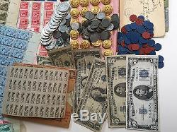 LOT(19 piece) WWII MEMORABILIATOKENS+PIN-UPs+UNIFORM+COINS+CURRENCY+STAMPS+#%25