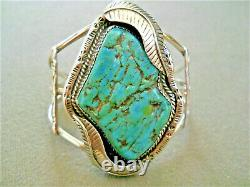 Large Native American Indian Turquoise Sterling Silver Stamped Cuff Bracelet JMC