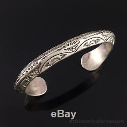 Large Native American Navajo Hand Stamped Sterling Silver Cuff Bracelet