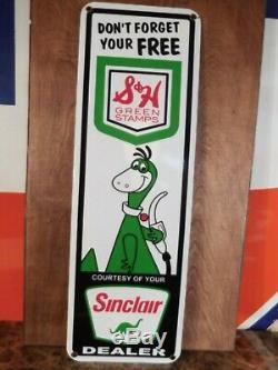Large'' Sinclair Dealer'' Gas & Oil Porcelain 22x7 Inch S&h Green Stamps