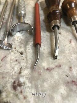 Large Vintage 21 Pc Craftool USA Leather Tools Stamp Set Leaves Acorns Inc. Tray