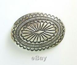 Large Vtg Navajo Sterling Silver Concho Belt Buckle Deeply Stamped Heavy 76 gr