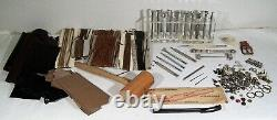 Leathercraft Tools Craftool Co. USA 23 Stamps + Stands + Leather Lot