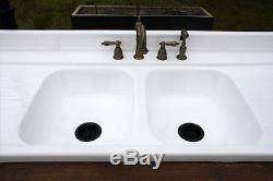 Long Leaf Pine Stand Refinished Double Basin Drainboard Stamped Metal Farm Sink