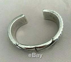 MARK CHEE Navajo Heavy Carved & Stamped SSilver Bracelet for Smaller Wrist
