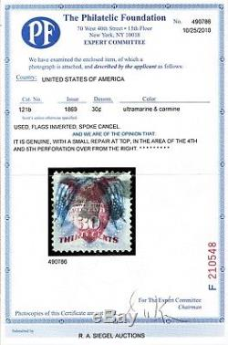 Mag338 1869 Scott#121b Flags Inverted cv$110,000 withcertificate Phil. Found